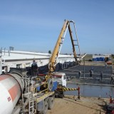 бетонирование предварительно напряженной  наружная площадки толщиной 140мм по грунту на СООО Бонше в г. Бресте